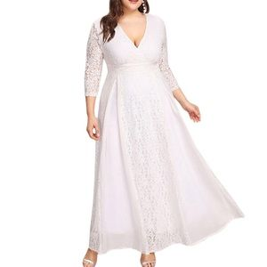 Dresses & Skirts - Plus 💕 Easy Care Lace Chiffon Panel Dress, 14-20W